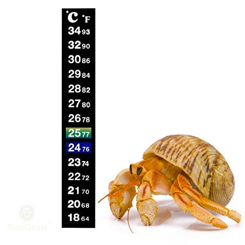 - Stick-on Thermometer for Hermit Crabs - Provide Precise Temperature Measurement - Easy to Use and Install - Helps Keep Crabs Healthy & Live Longer