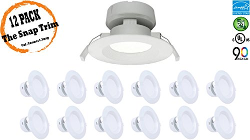 4'' Inch J-Box LED Canless Downlight; 7W=65/75W Equivalent; 40,000 Life Hours; Dimmable to 5%; Wet Location Rated; 5 Year Warranty; 120V; 550 Lumens; CRI>90; Cool White 4000K- (12 PACK) by Quest