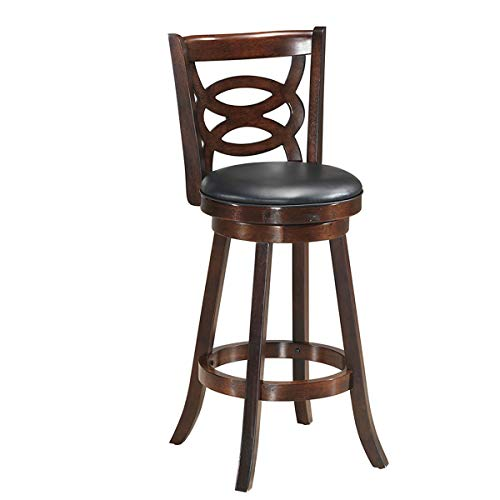 COSTWAY Dining Chair, Accent Wooden Back Swivel Bar Counter Height Stool, Fabric Upholstered 360 Degree Swivel, PVC Cushioned Seat, Perfect for Dining and Living Room (Height 29