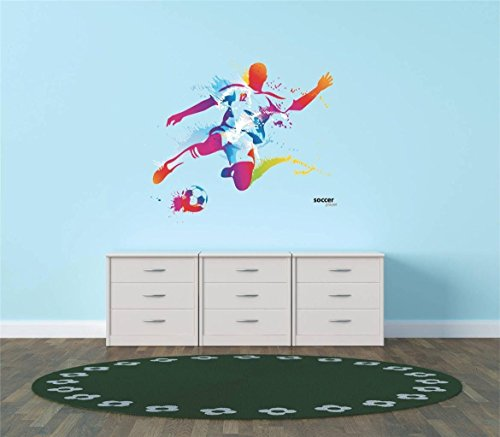 Sports Item Wall Stickers - Design with Vinyl Hope 77-414 As Seen Decor Item Vinyl Wall Sticker Colorful Soccer Player Kicking Ball Sports Team Boy Girl Living Room Bedroom, 12-Inch x 12-Inch
