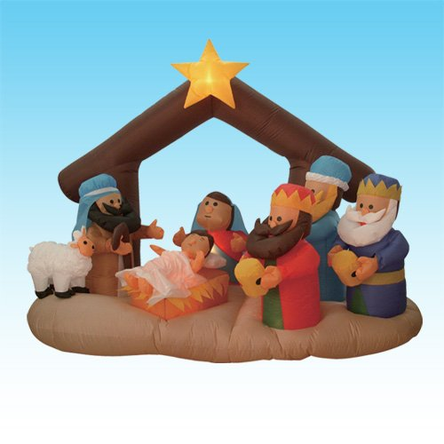 6 Foot Christmas Inflatable Nativity Scene with Three Kings Party Decoration -