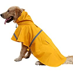 BINGPET BA1065 Adjustable Dog Raincoat Pet Puppy Lightweight Rain Jacket Poncho with Strip Reflective , Yellow Small