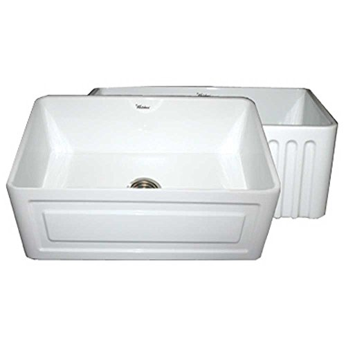 Sink Whitehaus Fireclay Undermount - Whitehaus WHFLRPL3018 30-Inch Reversible Series Fireclay Sink with Raised Panel Front Apron on One Side and Fluted Front Apron on Other Side, White