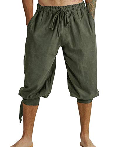 Mens Renaissance Pirate Costume, Medieval Viking Lace Up Knicker Gothic Pants Knee Length Cotton Linen Shorts (3XL, Army -