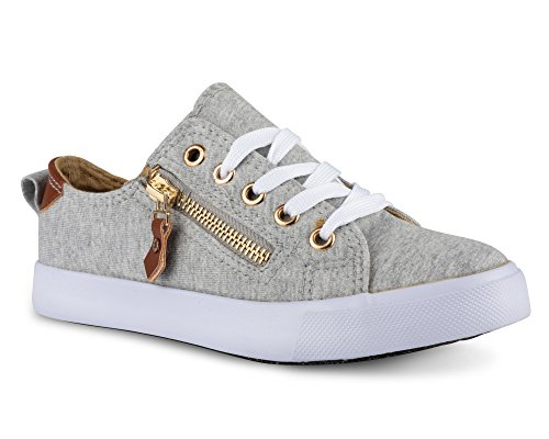 Twisted Girl's Faux Leather and Metallic Sneaker - KIXLO213KHEATHER Grey, Size 2