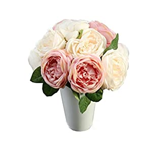 Koolee_artificial Flower, Fake Flowers Silk Plastic Artificial Roses 5 Heads Bridal Wedding Bouquet for Home Garden Party Wedding Decoration 87
