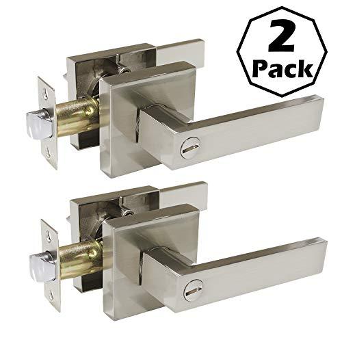 Satin Nickel Finished Door - 2 Pack Square Door Levers,Dedroom/Bathroom Door Knobs, Privacy Door Locks,Satin Nickel Finished,Heavey Duty