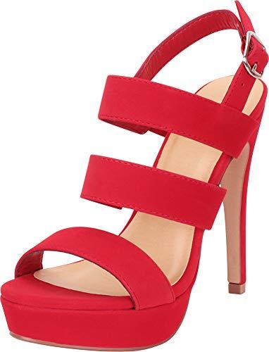 (Cambridge Select Women's Open Toe Strappy Slingback Platform High Heel Sandal,8 B(M) US,Lipstick NBPU)
