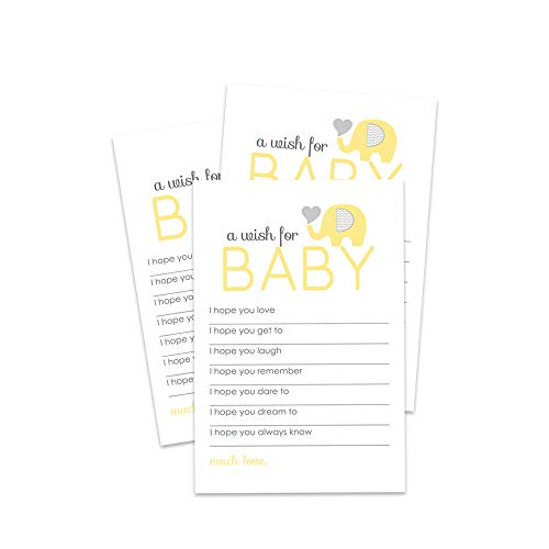 Yellow Elephant Wishes for Baby Shower - Set of 20 ()