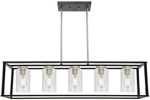 VINLUZ Modern Chandeliers Brushed Nickel and Black 5 Light Rectangle Dining Room Lighting Fixtures Hanging