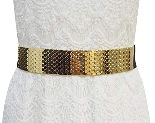 Bellady Fashion Women's Center-Scaled Texturized Metallic Stretch Belt,Center-Scaled Style