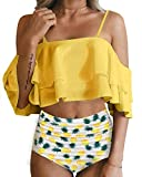 Tempt Me Women Two Piece Swimsuit High Waist Ruffle Flounce Bikini Pineapple XS