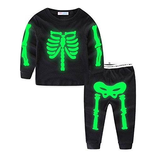 Mud Kingdom Glow in The Dark Toddler Boys Halloween Skeleton Home Set Long Sleeve 4T Black -