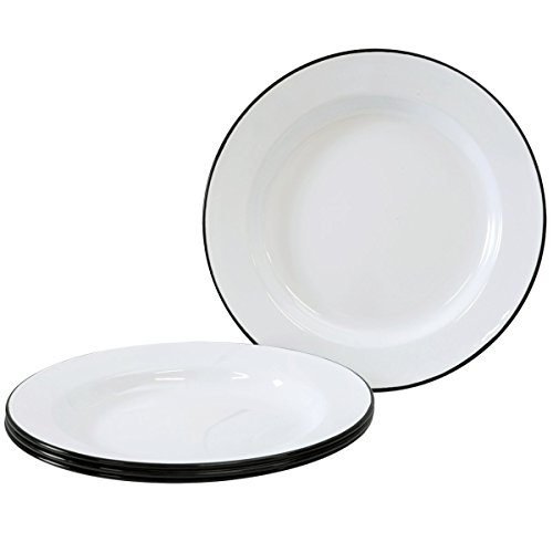 Enamelware - Set of 4 - Dinner Plates - Solid White with Black Rim (4 Solid Rim Dinner Plates)