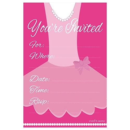 Ballerina Birthday Party Invitation Fill In 20 Count With