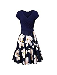 Dress for Women Plus Size Women's Short Sleeve Cross V- Neck Dresses Vintage Elegant Flared A-Line Today's Deals
