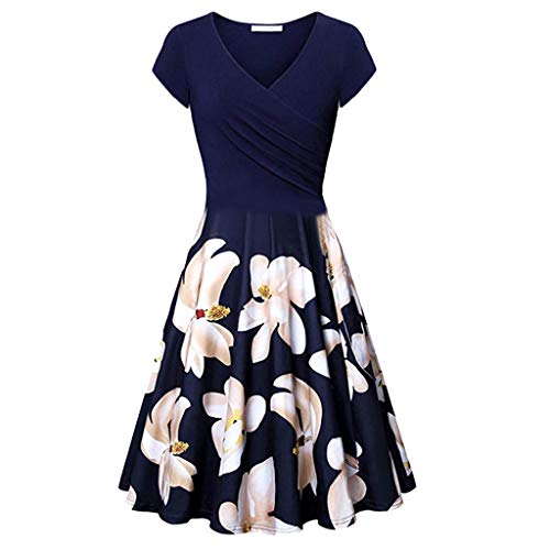 Aniywn Women Elegant Vintage Swing Dress V-Neck Short Sleeve Flare A-Line Dress Knee Length Party Dress