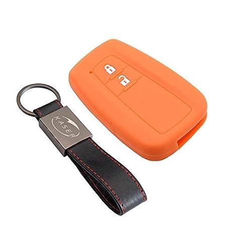 kaser Funda Silicona para Llave Toyota – Carcasa Llaveros 2 Botones para Coche Prius Auris Aygo RAV4 Yaris Vios Cover Case Protección Remoto Mando ...