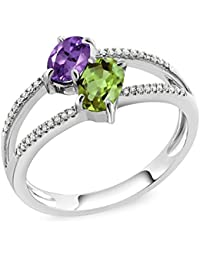 10K White Gold 1.13 Ct Oval Purple Amethyst Green Peridot Two Stone Ring (Available in size 5, 6, 7, 8, 9)