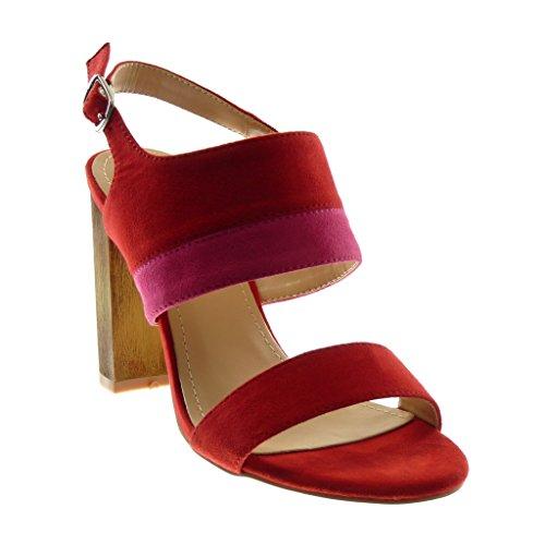 Angkorly Damen Schuhe Sandalen Pumpe - Knöchelriemen - Bicolor - Wooden Blockabsatz High Heel 10 cm Rot