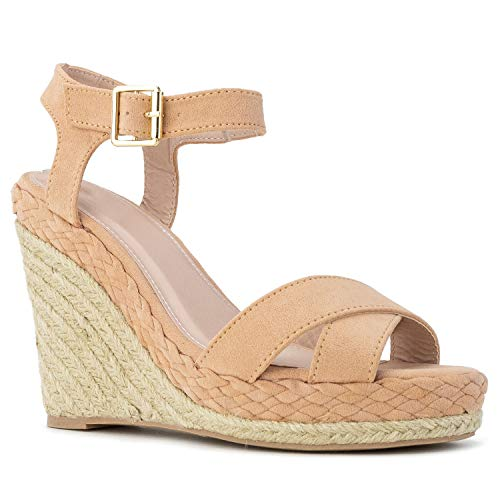 RF ROOM OF FASHION Open Toe Quilted Trim Espadrille Platform Wedge Blush Size.5.5