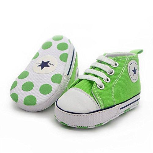 ESHOO Zapatos para bebés con suela suave azul oscuro Talla:0-6 meses verde