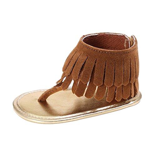 Auxma Baby Mädchen Krippe Schuhe Neugeborene Blume Soft Sohle Anti-Rutsch Baby Sneakers Sandalen für 3-18 Monate (12-18 M, Rot) Braun