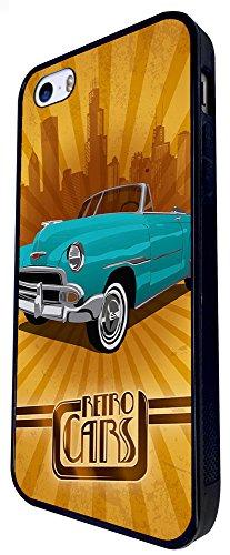 886 - Retro Car Vintage Pimp Car Design iphone SE - 2016 Coque Fashion Trend Case Coque Protection Cover plastique et métal - Noir