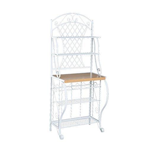 Bakers Rack Oak Shelf (Southern Enterprises Trellis Bakers Rack with Scroll Work, White with Oak Finish)