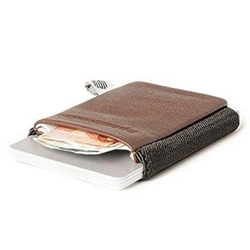 cc264f1c53a39d Space Wallet Classic I Mini Portemonnaie für Damen & Herren I Kleine  Echtleder Geldbörse für bis