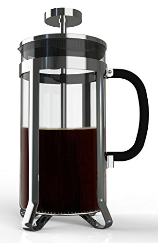 Premium Large French Press for Coffee, Tea, Infuse Your Favorite Beer with Delicious Flavors. 8 Cups in Steel and Heat Resistant Glass. Multi-layered Filter Blocks Grounds For A Smooth (Imperial Glass Block)