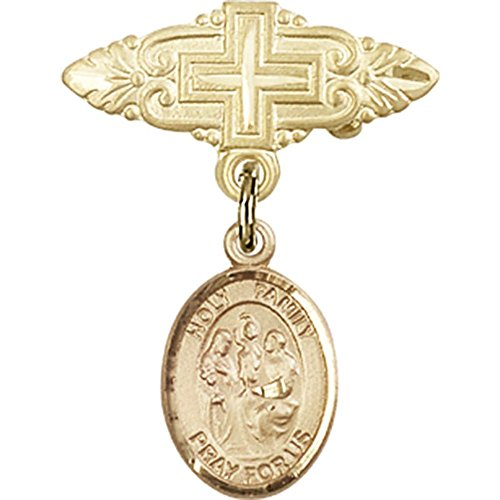 14kt Yellow Gold Baby Badge with Holy Family Charm and Badge Pin with Cross 1 X 3/4 inches by Unknown