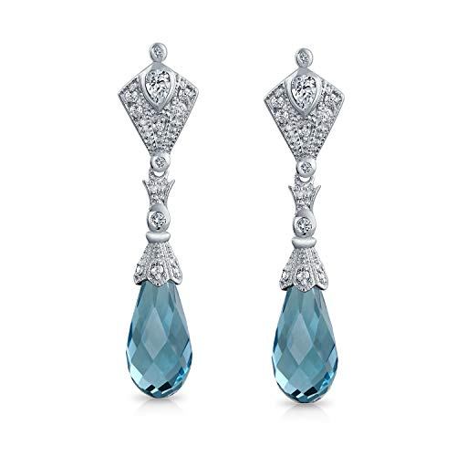 - Vintage Deco Style Aqua Blue Briolette Faceted Teardrop Cubic Zirconia CZ Chandelier Earrings For Women Sterling Silver