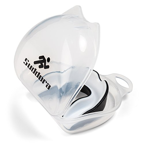 Suddora Two Tone Mouthguard with Carry Case - Multi-Sport Gum Shield (Black with White Inside)
