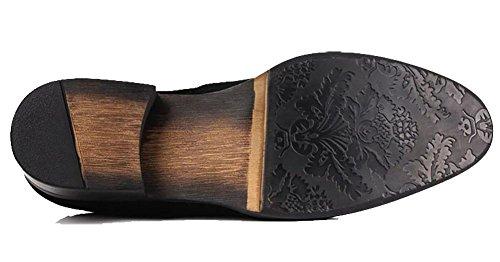 Herren Brock Nubukleder Carving Tipp Oxford Schuhe , black , 44