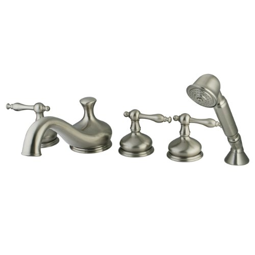 Kingston Brass KS33385NL Roman Tub Filler with Hand Shower and Metal lever handle, Brushed Nickel, 5-Piece
