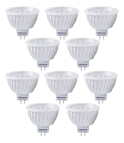 10-Pack AC/DC 12V 5W MR16 LED Bulb - 50W Equivalent 5000K Daylight LED Spotlight - 340 Lumen 36 Degree Beam Angle GU5.3 Base for Home, Recessed, Accent, Landscape, Track Lighting