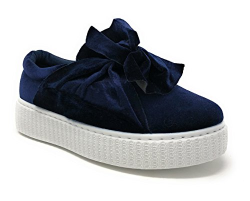 Pink Label Women's Velvet Slip-On Fashion Sneaker with Chic Bow in Navy Size: 11
