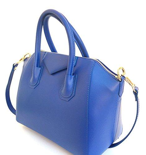 Italie Fabriqué en véritable à main Model cuir SUPERFLYBAGS Lissé Sac Rebecca bleu en Mini FqTwTS