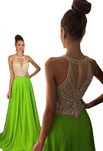 Fanciest Women's Crystal Beaded Prom Dresses 2019 Long Evening Gowns Formal Lime Green US8