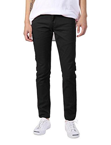 JD Apparel Men's Basic Casual Colored Skinny Fit Twill Jeans 30Wx32L Black (Jeans Twill Black)