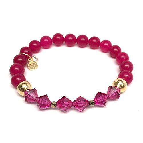 TFS Jewelry Fuchsia Agate & Swarovski Crystals 'Chloe' Stretch Bracelet