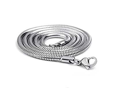 """LUNA Stainless Steel Mens Silver Snake Chain Link Necklace 3mm 22"""" in Gift Box"""
