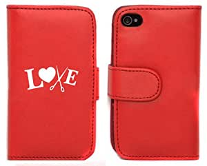 Red Apple iPhone 5 5s 5LP761 Leather Wallet Case Cover Love Hair Cutting Scissors