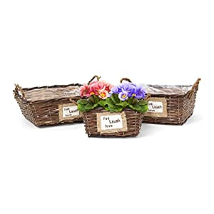 Amazon Com Relaxdays Set Of 3 Plant Baskets Wicker Baskets Short