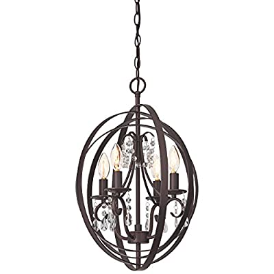 "Stone & Beam French Country Orb Chandelier, 21""H, With Bulb, Oil Rubbed Bronze"