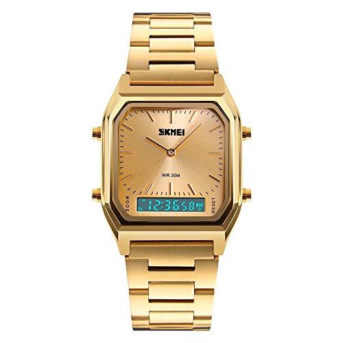Women Watch Gold Analog Digital Watches Girls Ladies Wristwatch Stainless Steel Band LED Stopwatch Alarm