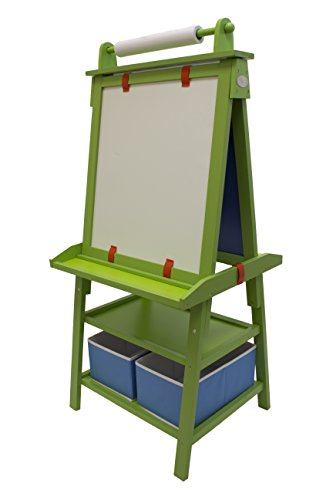 Little Partners Deluxe Art Easel (Green Apple) - Two Sided A-Frame Paint Easel, Chalk Board & Magnetic Dry Erase - w/Storage, Supply Holder & Paper Feed - Art Station & Educational Tool for Toddlers
