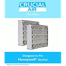 2 Honeywell FC100A1037 20x25x5 Merv 8 Replacement Air Filters Fit 20X25, 25X20, 25X22 F100, F200 & SpaceGard 2200, Designed & Engineered by Crucial Air