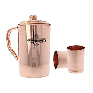 RawyalCrafts 100% Pure copper Handcrafted Pitcher/Jug 50 Oz/1.5 Liters for Ayurveda Health Benefit with Set of 2 Copper Water Glasses